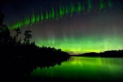 Picket fence across edit2 (John Andersen (JPAndersen images)) Tags: auroraborealis steve kananaskis nightsky canon6d tamron1530f28 reflections calgaryalberta stars astrophotography