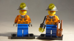 Brick Yourself Custom Lego Minifigure -Mining Couple with Torch & Notebook