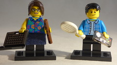 Brick Yourself Custom Lego Minifigure - Couple with Laptop, Flute, Tennis Racket & Game Controller