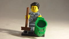 Brick Yourself Custom Lego Minifigure - Happy Garbageman with Bin & Broom