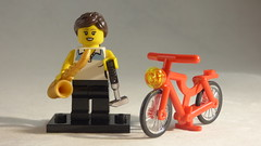 Brick Yourself Custom Lego Minifigure - Sporty Girl with Golf Club, Bicycle & Saxophone