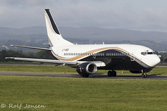 LY-BGS Boeing 737-300 Klasjet Glasgow airport EGPF 22.08-19 (rjonsen) Tags: plane airplane aircraft aviation airliner charter airside taxying