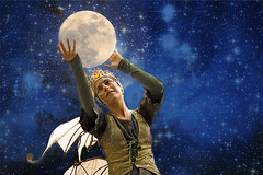 Pearl of the Sky (ihave3kids) Tags: photoshop photoshopcompetition photroshopcontest digitalarts womandancer sprite fairy hada moon stars sky wikipediacommons galaxy