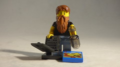 Brick Yourself Custom Lego Minifigure - Lego Lover with Laptop, Bottle & Box of Lego