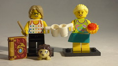 Brick Yourself Custom Lego Minifigures - Friends with Coffee, Cupcake, Magic Wand, Book & Pet Hedgehog