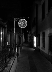 Hops (mswan777) Tags: street sign cafe garden beer drink night outdoor building architecture city urban stone cityscape apple iphone iphoneography mobile monochrome black white shadow varese italy travel
