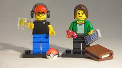 Brick Yourself Custom Lego Minifigures - Cool Couple with Pokeball, Beer, Book, Phone & Heart