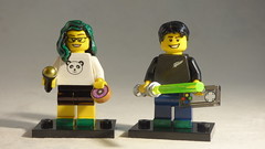 Brick Yourself Custom Lego Minifigures - Couple with Green Hair & Shoes, Donut, Microphone, Lightsaber & Game Controller