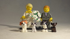 Brick Yourself Custom Lego Minifigure - Happy Newlyweds with 4 Custom Dogs