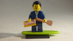 Brick Yourself Custom Lego Minifigure - Savvy Traveller with Plane Ticket, Oar & Surfboard