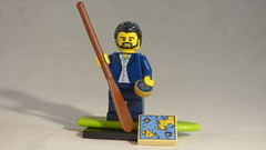Brick Yourself Custom Lego Minifigure - Suited Traveller with Paddleboard, Map & Compass