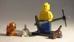 Brick Yourself Custom Lego Minifigure - Powerlifter with Cats & Dog