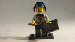Brick Yourself Custom Lego Minifigure - Happy Graphic Designer with Headphones, Paint Brush & Laptop