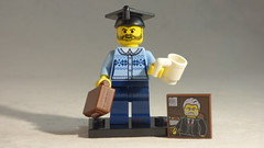 Brick Yourself Custom Lego Minifigure - Proud Pyschologist with Coffee, Briefcase & Picture of Freud