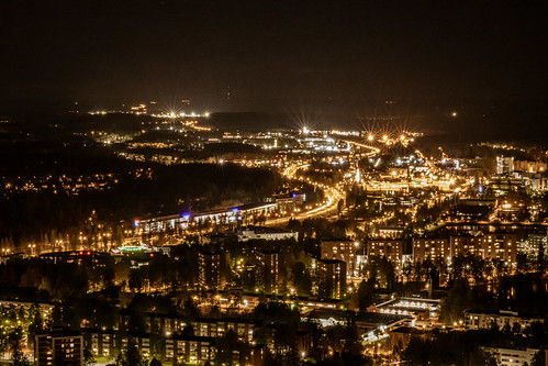 Kuopio nightscenary from Puijo tower