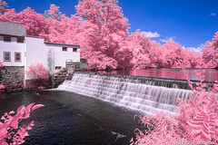 a tiny park (Brian M Hale) Tags: 590nm ir infrared kolari vision kolarivision pink blue waterfall uxbridge blackstone heritage state park capron dam outside outdoors nature brian hale brianhalephoto newengland usa long exposure breakthrough filters