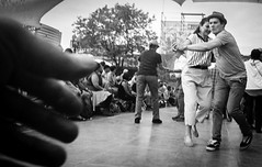 Uncertain Outreach (bluechromis1) Tags: canonrebelg kodaktmax400 blackandwhite selfdeveloped filmgrain instantmytol139 35mm waterfrontbluesfestival portlandoregon film analog dance dancing couple