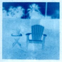 In Camera Cyanotype (Jack Ishlandt) Tags: cyanotype in camera incamera traditional photogram negative blue homemade chair table yard trees long exposure sunny16 sunny 16 bergger cot 320 alt process altprocess alternative
