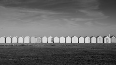 Beach huts (jeffclouet) Tags: france europe cayeux baie somme monochrome mono noiretblanc blackandwhite bnw nb pb bw cabine cabinas cabin beach playa plage seaside seascape seashore sea nikon nikkor d850 repetition mer mar bay baya picardie jour minimal minimalism minimum hut