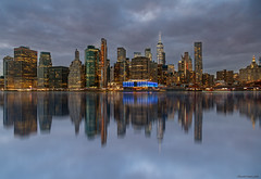 Lights on a gray sunset (ricardocarmonafdez) Tags: newyork nyc manhattan skyline sunset lighting lights color mirror reflections reflejos rascacielos skyscrapers d850 nikon processing edition simetría symmetry