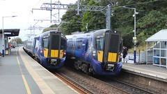 Photo of 385120 (with 385033 leading) 1R53 12:02 Edinburgh to Glasgow Queen Street & 385021 (with 385122 leading) 1R58 1230 Glasgow Queen Street to Edinburgh; Croy; 15-09-2019