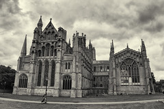 Ely Cathedral - Ely, England {Explore} (fisherbray) Tags: uk greatbritain england nikon cathedral unitedkingdom ely cambridgeshire eastanglia elycathedral cathedralcity d5600 fisherbray bw church monochrome dom kirche anglican silverefexpro cathedralchurchoftheholyandundividedtrinity