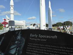Florida Day 18 - 014 Kennedy Space Center Rocket Garden (TravelShorts) Tags: ksc kennedyspacecenter capecanaveral trex restaurant dinosurs disney dining table service food astronaut encounter wendy lawrence space shuttle atlantis apollo saturn rocket hall fame artifacts flown stars suits moon walk moonwalk moonrock mission mars journey lecture heroes legends boosters the cape memorial 11 bus tour bustour spacex launchpad csm lunar lander command module neil armstrong vehicle assembly building vab mercury gemini control alan shepard buzz aldrin