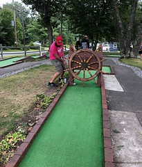 Pat stuck on Hole 10 (Putting Penguin) Tags: minigolf miniaturegolf putting puttingpenguin putt puttputt dolphin crazygolf tournament maine boothbay
