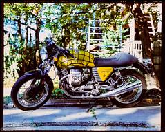Motorcycle V7 cafe (Uta_kv) Tags: guzziv7 guzzi v7cafe rangefinder mediumformatfilm film colourful motorcycle epsonv550 provia100f 6x7format fujicagm670 texasleica e6 homedeveloped