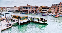 towards rialto (khrawlings) Tags: venice italy rialto water vaporetto station stop canal grande bus boats market cadoro