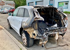 Seen on my walk this morning. Imagining all kinds of Hollywood-style car chase/explosion stories to explain what I see here. (nomad7674) Tags: 2019 20190919 september autumn fall car automobile wreck burned burn seenonmywalk destroyed charred blackened