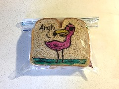Talk Like a Pirate (D Laferriere) Tags: pink talklikeapirateday pirate talk like day flamingo markers drawing attleboro laferriere dad sandwichbagdad sandwichbagart sandwich bag art sharpie