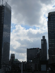 2019 Wafting Clouds over Midtown Hells Kitchen NYC 1683 (Brechtbug) Tags: 2019 moon with clouds over midtown hells kitchen clinton the new york times building pink salmon orangish sky august evening near sunset cloudcover cumulus cloud cover 09182019 8th avenue 42nd street architecture sunlight nyc skyline city art scape cityscape sunsets september fall