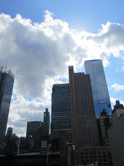 2019 Wafting Clouds over Midtown Hells Kitchen NYC 1685 (Brechtbug) Tags: 2019 moon with clouds over midtown hells kitchen clinton the new york times building pink salmon orangish sky august evening near sunset cloudcover cumulus cloud cover 09182019 8th avenue 42nd street architecture sunlight nyc skyline city art scape cityscape sunsets september fall