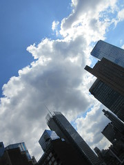 2019 Wafting Clouds over Midtown Hells Kitchen NYC 1679 (Brechtbug) Tags: 2019 moon with clouds over midtown hells kitchen clinton the new york times building pink salmon orangish sky august evening near sunset cloudcover cumulus cloud cover 09182019 8th avenue 42nd street architecture sunlight nyc skyline city art scape cityscape sunsets september fall