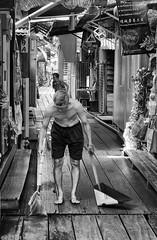 Sweep (peterphotographic) Tags: p7240340sefexedwm sweep olympus em5mk2 microfourthirds mft ©peterhall chewjetty penang malaysia seasia asia jetty candid sweeping cleaning broom nik silverefexpro2 blackandwhite blackwhitephotos bw monochrome georgetown