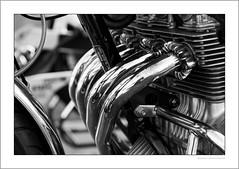 Honda 400 Four (G. Postlethwaite esq.) Tags: bw cb400 dof derbyshire heagewindmill honda400four unlimitedphotos blackandwhite bokeh classicbikes closeup depth depthoffield monochrome motorbike motorcycle photoborder selectivefocus