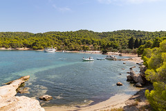 Panoramic view of Zogeria Beach on Spetses island, Greece (dronepicr) Tags: photo griechenland landscape nature allgemein europe mediterranean outdoor canon vacation natur sea coast sun blue beach ocean tourism turquoise travel strandurlaub island summer greece spetses länderstädte geotagged holiday strand