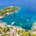 Jachten an der Bucht Zogeria auf Spetses, Griechenland