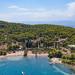 Blick auf den Strand Zogeria auf Spetses, Griechenland