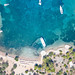 Top-down aerial of Zogeria Beach on Spetses, Greece