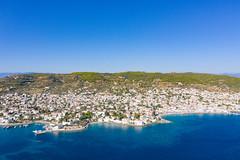 Aerial view of Agios Nikolaos Beach on Spetses island, Greece