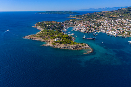 Aerial view of the south-east end of Spetses island, Greece