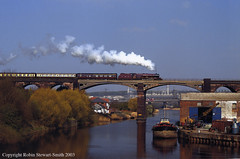 LMS Princess No 6201 'Princess Elizabeth' heads over Frodsham Viaduct with a Chester to Carlisle Special on 12th April 2003 (robinstewart.smith) Tags: lms princess elizabeth 6201 frodsham viaduct special 2003