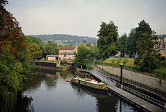 Along the Canal (Jocelyn777) Tags: boats river water landscapes trees foliage outdoor path buildings houses textured bath england canal riveravon