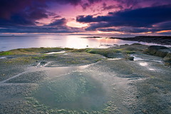 Evening Colours (PeterYoung1.) Tags: atmospheric beautiful clouds colours colour canon green highlights nature ocean peteryoung1 rocks reflections scenic scotland seascape scottish sea sunset troon uk water