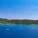 A panoramic view from the sea of Zogeria Bay on Spetses island, Greece