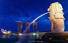 Merlion By The Bay (Photography By Lionel Teo) Tags: surreal fantasy marinabaysands nightexposure milkyway marinabay photoshop stars justforfun merlionpark merlion