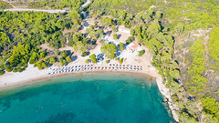 Aerial view of Agia Paraskevi Beach on Spetses, Greece