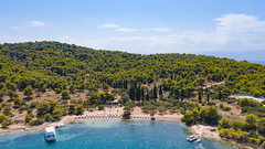 Aerial view of Zogeria Beach on Spetses, Greece